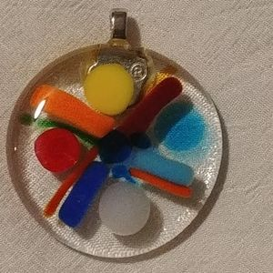 🌺2/$25 or 5/$50  Multicoloured Art Glass Pendant
